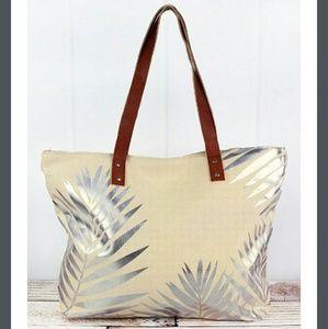 Handbags - NET Palm Leaf Canvas Leather handles Tote Bag!